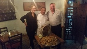 Rusty Humphries with Chef Moshe Basson at the Eucalyptus restaurant in Jerusalem.