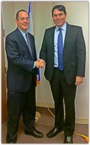 Israel's Ambassador to the United Nations Danny Danon greeting America's Voices in Israel, David Schizer, Dean of Columbia Law School.